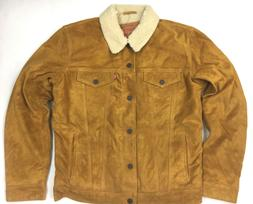 Levis Leather Suede Camel Color Sherpa Trucker Jacket Levis