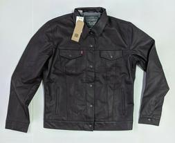 Levis Men's Faux Leather Trucker Levi's Jacket Chocolate Bro