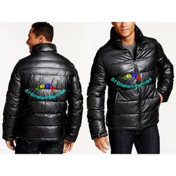 LEVIS MENS FAUX LEATHER QUILTED PUFFER JACKET COAT BLACK SIZ