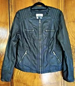 Made By Johnny Los Angeles Black Faux Vegan Leather Zip Up M