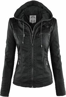 Made By Johnny MBJ Womens Faux Leather Motorcycle Jacket wit