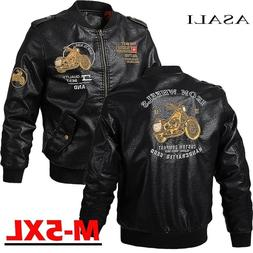 Male Leather <font><b>Jacket</b></font> Slim Fit Coat Men St