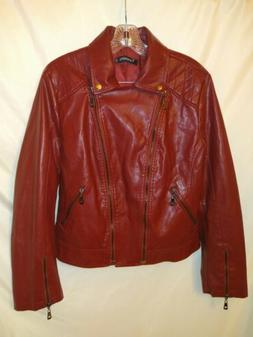 Tanming Maroon pu leather zippered motto jacket new Size XL