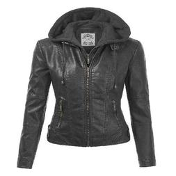 MBJ WJC1044 Womens Faux Leather Quilted Motorcycle Jacket wi