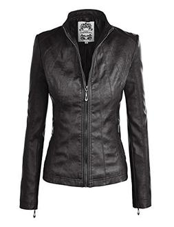 Made By Johnny MBJ WJC877 Womens Panelled Faux Leather Moto