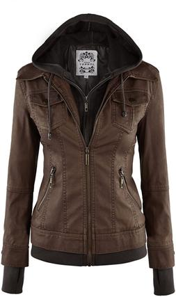 Made By Johnny MBJ Womens Faux Leather Zip Up Moto Jacket wi