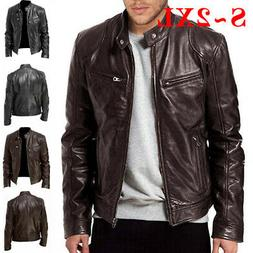 Men Casual Coat Stand Collar Biker Jacket Long Sleeve Outerw