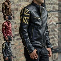 Men Cool Leather Jackets Multi-pockets Zipper Autumn Winter