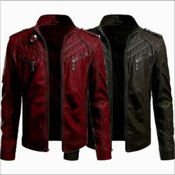 Men Faux Leather Casual Zipper Jacket Outdoor Motorcycle Out