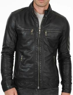 Men Genuine Lambskin Leather Motorcycle Slim fit Jacket Bomb