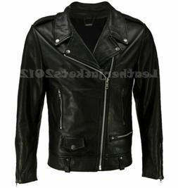 MEN GENUINE LEATHER JACKET ASYMMETRICAL SLIM REAL  BIKER NEW