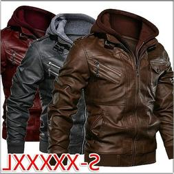 Men Hooded Leather Jacket Casual Slim Fit Biker Jackets Moto