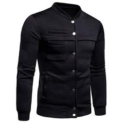Men Pocket Solid Coat Jackets Mens Stand Collar Solid Button
