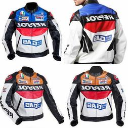Men REPSOL Motorcycle Leather Racing Suits Armor Riding Prot