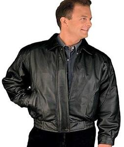 Reed Men's American Style Bomber Genuine Leather Jacket XL B