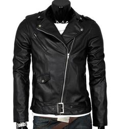 Men's Autumn Leather Jacket Slim Fit Motorcycle Jacket Zippe