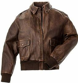 Men's Aviator A-2 Distressed Brown Bomber Leather Jacket For