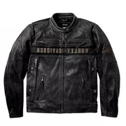 Men's Biker Distressed Black Harley Davidson Motorcycle Real