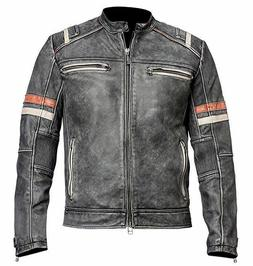 Men's Biker Vintage Motorcycle Cafe Racer Retro 2 Moto Distr
