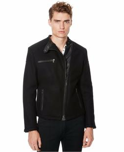 Kenneth Cole Reaction Men's Black Faux Leather Moto Jacket N