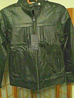 Men's Black Faux Leather Stylish Jacket New with Tags! size