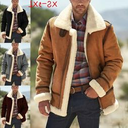 Men's Bomber Faux Leather Jacket Fall and Winter Warm Coat P