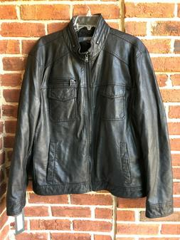 Kenneth Cole Reaction Men's Bomber Jacket Black Faux Leather
