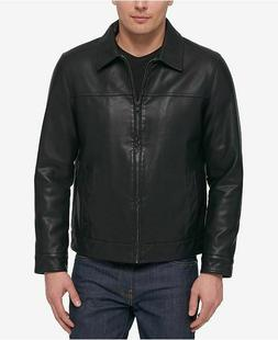 TOMMY HILFIGER MEN'S BOMBER LEATHER JACKET COAT M XXL BLACK