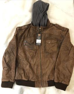 FLAVOR Men's Brown Leather Motorcycle Jacket with Removable