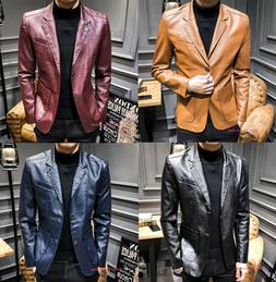 Men's Casual Leather Suit Blazer Button Formal Coats Jackets