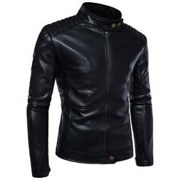 Men's Casual Motorcycle Faux Leather Jackets Slim Fit Punk S