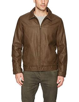 Tommy Hilfiger Men's Classic Faux Leather Jacket, Earth, Med