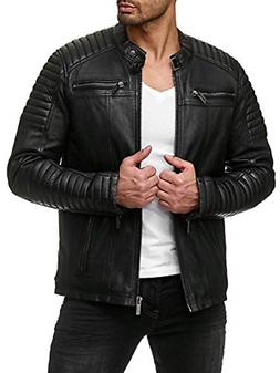 Coofandy Men's Classic Leather Motorcycle Jacket Winter Bike