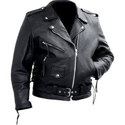 Men's Classic Style Black Genuine Cowhide Leather Motorcycle
