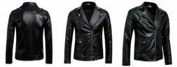 Men's Classic Police Style Faux Leather Motorcycle Jacket Me