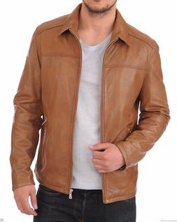 Men's Classic style Shirt Collar Bomber Biker Slim Fit Tan C