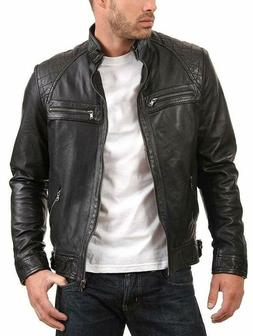 Urban Leather Factory Men'S Enzo Black Genuine Lambskin Vint