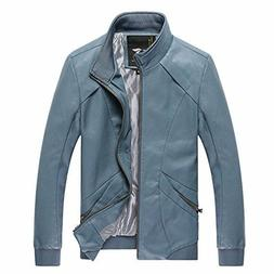 WenVen Men's Fall Casual PU Leather Jackets .