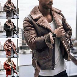 Men's Faux Fur Long Sleeve Jacket Winter Warm Lapel Coat Ret