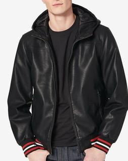 men s faux leather hooded bomber jacket