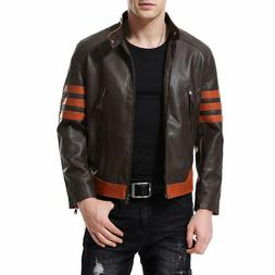 Aowofs Men'S Faux Leather Jacket Brown Moto Motorcycle Bombe