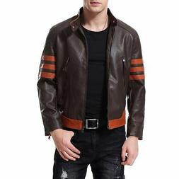 AOWOFS Men's Faux Leather Jacket Brown Punk Moto Motorcycle