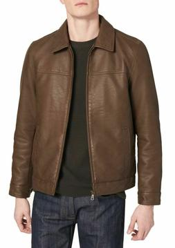 Tommy Hilfiger Men's Faux Leather Jacket Size M Medium Earth