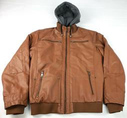 Wantdo Men's Faux Leather Jacket with Removable Hood Medium