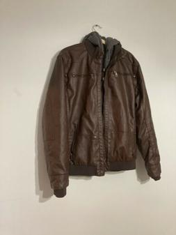 Wantdo Men's Faux Leather Jacket with Removable Hood Motorcy