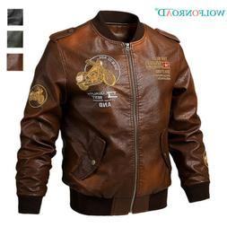Men's Faux Leather Motorcycle Jackets PU Leather Bomber Jack