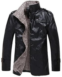 KIWEN Men's Fur Faux Collar Leather Jacket