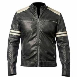 Men's Genuine Lambskin 100% Real Leather Jacket Biker Slim F