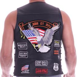 Men's Genuine Leather punk Vest Concealed Carry Biker motorc