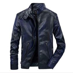 Men's Gradient Sew Jackets Coats Side Zip Leather Stand Coll